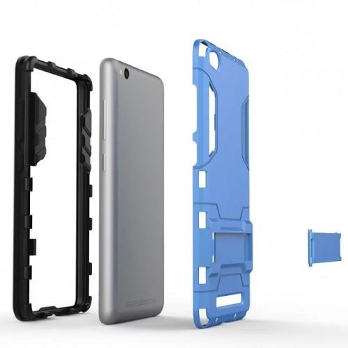 Противоударный двухкомпонентный силиконовый матовый непрозрачный чехол с поликарбонатными вставками экстрим защиты с встроенной ножкой-подставкой для Xiaomi RedMi 3