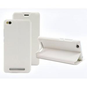 Чехол горизонтальная книжка подставка на пластиковой основе для Xiaomi RedMi 3 Белый