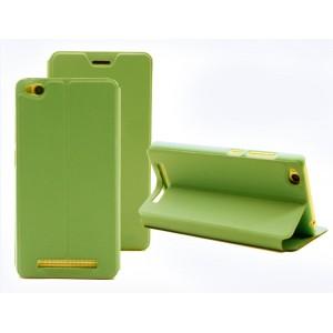 Чехол горизонтальная книжка подставка на пластиковой основе для Xiaomi RedMi 3 Зеленый