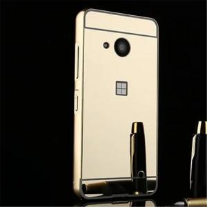 Двухкомпонентный чехол c металлическим бампером с поликарбонатной накладкой и зеркальным покрытием для Microsoft Lumia 550  Бежевый