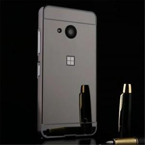 Двухкомпонентный чехол c металлическим бампером с поликарбонатной накладкой и зеркальным покрытием для Microsoft Lumia 550  Черный