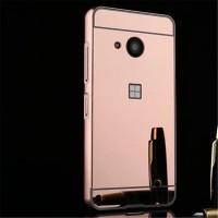 Двухкомпонентный чехол c металлическим бампером с поликарбонатной накладкой и зеркальным покрытием для Microsoft Lumia 550  Розовый
