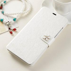 Чехол горизонтальная книжка подставка на пластиковой основе на дизайнерской магнитной защелке для Samsung Galaxy A5 (2016)  Белый