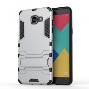 Противоударный двухкомпонентный силиконовый матовый непрозрачный чехол с поликарбонатными вставками экстрим защиты с встроенной ножкой-подставкой для Samsung Galaxy A5 (2016) Белый