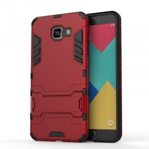 Противоударный двухкомпонентный силиконовый матовый непрозрачный чехол с поликарбонатными вставками экстрим защиты с встроенной ножкой-подставкой для Samsung Galaxy A5 (2016) Красный