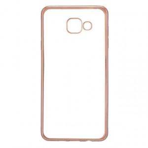 Силиконовый матовый полупрозрачный чехол с текстурным покрытием Металлик для Samsung Galaxy A5 (2016)  Розовый
