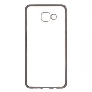 Силиконовый матовый полупрозрачный чехол с текстурным покрытием Металлик для Samsung Galaxy A5 (2016)  Черный