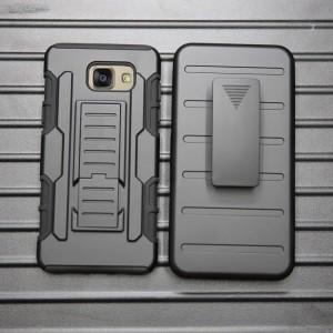 Противоударный двухкомпонентный силиконовый матовый непрозрачный чехол с поликарбонатными вставками экстрим защиты с встроенной ножкой-подставкой для Samsung Galaxy A5 (2016)