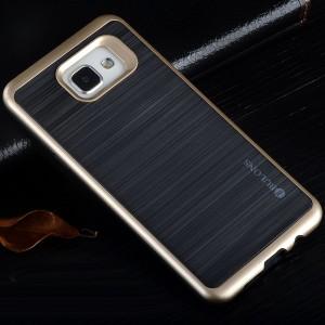 Двухкомпонентный силиконовый матовый непрозрачный чехол с поликарбонатным бампером для Samsung Galaxy A5 (2016)  Бежевый