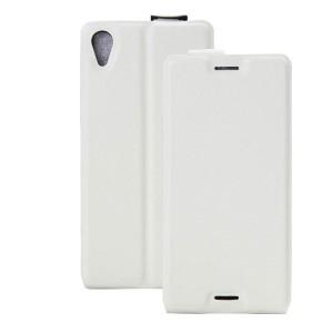 Чехол вертикальная книжка на силиконовой основе с отсеком для карт на магнитной защелке для Sony Xperia X  Белый