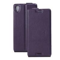 Чехол вертикальная книжка на силиконовой основе с отсеком для карт на магнитной защелке для Sony Xperia X  Фиолетовый
