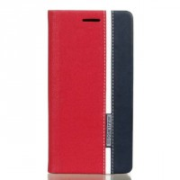 Чехол горизонтальная книжка подставка текстура Линии на силиконовой основе с отсеком для карт для Sony Xperia X Красный