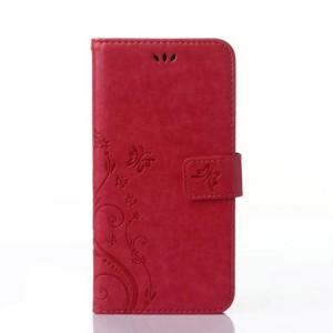 Чехол портмоне подставка текстура Узоры на силиконовой основе на магнитной защелке для Sony Xperia X Красный