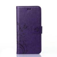 Чехол портмоне подставка текстура Узоры на силиконовой основе на магнитной защелке для Sony Xperia X  Фиолетовый