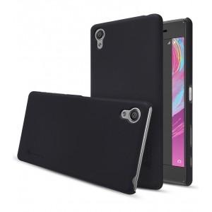 Пластиковый непрозрачный матовый нескользящий премиум чехол для Sony Xperia X Черный