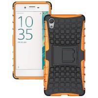Противоударный двухкомпонентный силиконовый матовый непрозрачный чехол с поликарбонатными вставками экстрим защиты с встроенной ножкой-подставкой для Sony Xperia X  Оранжевый