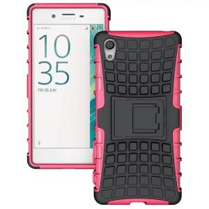 Противоударный двухкомпонентный силиконовый матовый непрозрачный чехол с поликарбонатными вставками экстрим защиты с встроенной ножкой-подставкой для Sony Xperia X  Розовый