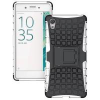 Противоударный двухкомпонентный силиконовый матовый непрозрачный чехол с поликарбонатными вставками экстрим защиты с встроенной ножкой-подставкой для Sony Xperia X  Белый