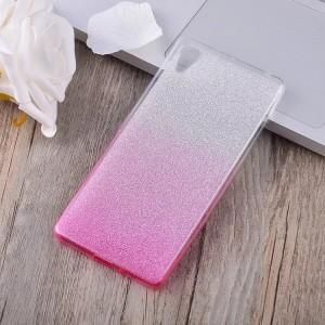 Силиконовый матовый полупрозрачный градиентный чехол для Sony Xperia X  Розовый