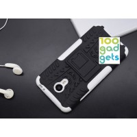 Противоударный двухкомпонентный силиконовый матовый непрозрачный чехол с поликарбонатными вставками экстрим защиты с встроенной ножкой-подставкой для Meizu M3 Note  Белый