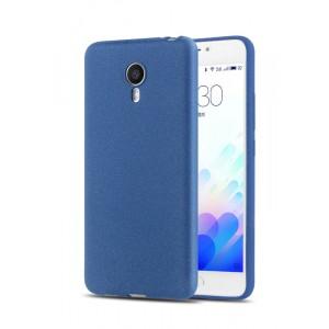 Силиконовый матовый непрозрачный чехол с повышенной шероховатостью для Meizu M3 Note Синий