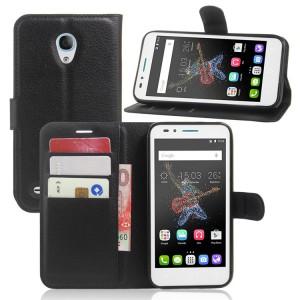 Чехол портмоне подставка на силиконовой основе на магнитной защелке для Alcatel OneTouch Go Play  Черный