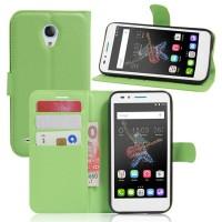 Чехол портмоне подставка на силиконовой основе на магнитной защелке для Alcatel OneTouch Go Play  Зеленый