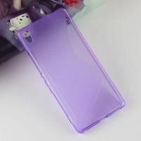 Силиконовый матовый полупрозрачный чехол с дизайнерской текстурой S для Sony Xperia XA Ultra  Фиолетовый