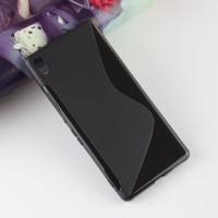 Силиконовый матовый полупрозрачный чехол с дизайнерской текстурой S для Sony Xperia XA Ultra  Черный
