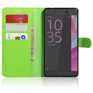 Чехол портмоне подставка на силиконовой основе на магнитной защелке для Sony Xperia XA Ultra  Зеленый