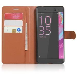 Чехол портмоне подставка на силиконовой основе на магнитной защелке для Sony Xperia XA Ultra  Коричневый