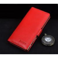 Кожаный чехол портмоне подставка (премиум нат. кожа) с крепежной застежкой для Sony Xperia XA Ultra  Красный