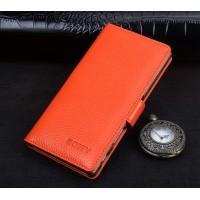Кожаный чехол портмоне подставка (премиум нат. кожа) с крепежной застежкой для Sony Xperia XA Ultra  Оранжевый