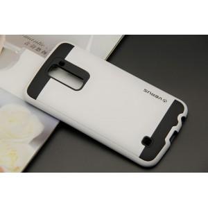 Противоударный двухкомпонентный силиконовый матовый непрозрачный чехол с поликарбонатными вставками экстрим защиты для LG K10