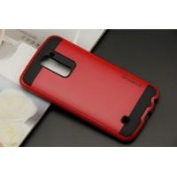 Противоударный двухкомпонентный силиконовый матовый непрозрачный чехол с поликарбонатными вставками экстрим защиты для LG K10 Красный