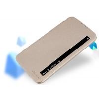 Чехол горизонтальная книжка на пластиковой нескользящей премиум основе с окном вызова для LG K10  Бежевый