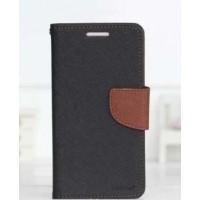 Чехол портмоне подставка на силиконовой основе с тканевым покрытием на дизайнерской магнитной защелке для LG K10 Черный