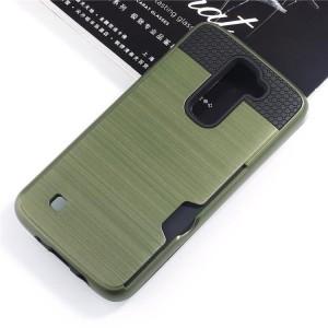 Силиконовый матовый непрозрачный чехол с поликарбонатными вставками для LG K10