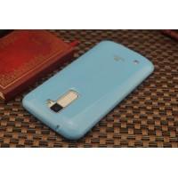 Силиконовый глянцевый непрозрачный чехол для LG K10  Голубой