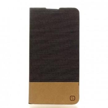 Чехол горизонтальная книжка подставка на силиконовой основе с отсеком для карт и тканевым покрытием для LG K10