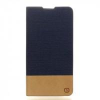 Чехол горизонтальная книжка подставка на силиконовой основе с отсеком для карт и тканевым покрытием для LG K10  Синий