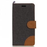 Чехол горизонтальная книжка подставка с тканевым покрытием на силиконовой основе с отсеком для карт на магнитной защелке для LG K10  Черный