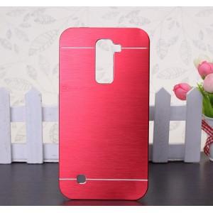 Пластиковый непрозрачный матовый чехол с текстурным покрытием Металл для LG K10
