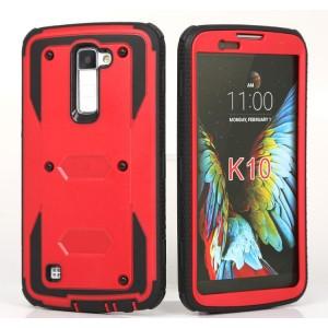 Противоударный двухкомпонентный силиконовый матовый непрозрачный чехол с поликарбонатными вставками для LG K10 Красный