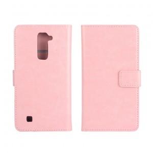 Глянцевый чехол портмоне подставка на пластиковой основе на магнитной защелке для LG K10  Розовый