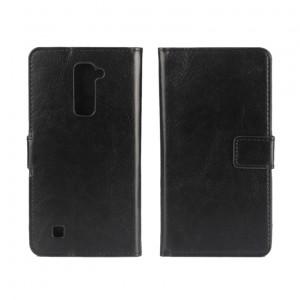 Глянцевый чехол портмоне подставка на пластиковой основе на магнитной защелке для LG K10  Черный