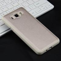 Силиконовый матовый непрозрачный чехол с текстурным покрытием Кожа для Samsung Galaxy J5 (2016)  Бежевый