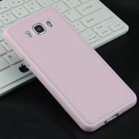 Силиконовый матовый непрозрачный чехол с текстурным покрытием Кожа для Samsung Galaxy J5 (2016)  Розовый