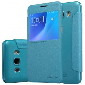 Чехол горизонтальная книжка на пластиковой нескользящей премиум основе с окном вызова и тканевым покрытием для Samsung Galaxy J5 (2016)  Голубой