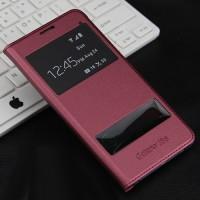 Чехол горизонтальная книжка на пластиковой основе с окном вызова и свайпом для Samsung Galaxy J5 (2016)  Красный